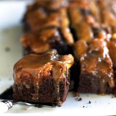 Chocolate Peanut Butter Banana Upside Down Cake