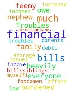 Financial Troubles -  Dear Jesus,and also everyone please pray for me.I am in so much financial trouble.I am on a low income.I am in so much debt.I owe credit cards,loans,and a storage fee,my parents bills,siblings bills and I barely can afford food for my parents,siblings,and nephew and myself.I am so heavily burdened by this financial issue.I pray in Jesus with his Holy Spirit that I can get an increase on my income to help myself and my family with bills and food.Amen  Posted at…