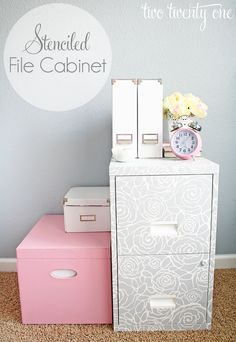 Stenciled File Cabinet - Warning to my husband, his grey filing cabinet may turn into this