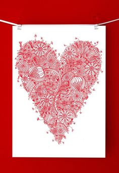 pretty red detailed pattern love heart fine by cloudninecreative, $23.00