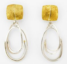 Silver Scribble Loop Earrings by Sydney Lynch: Gold & Silver Earrings available at www.artfulhome.com