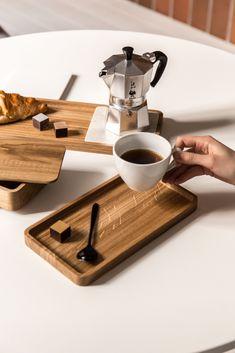 Rectangular wooden tray SLIDE By Viruna design Arunas Paul Kitchen Tray, Wooden Kitchen, Cafe Geek, Layout Design, Design Design, Coffee Tray, Wooden Spatula, Wooden Ring Box, Coffee Shop Design