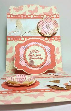 Pop'n Cuts Card (Die Stampin' Up!/Karen Burniston), Butterflies and Flower Shop Stampin* Up,; Background with Stampin'Around wheel Butterflies