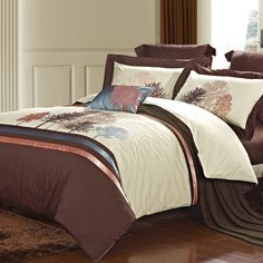 Coffee and Beige Tree of Life Vintage Noble Excellence Gorgeous Hotel Style Southwestern 100% Egyptian Cotton Full, Queen Size Bedding Sets