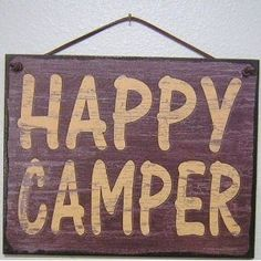 """Brown Vintage Style Sign Saying, """"HAPPY CAMPER"""" Decorative Fun Universal Household Signs from Egbert's Treasures"""