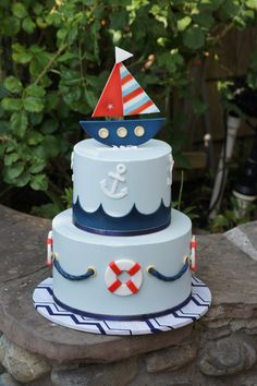Cute nautical themed birthday cake Themed Birthday Cakes, Birthday Party Themes, Boy Birthday, Baby Showers Marinero, Navy Cakes, Whale Cakes, Baby Party, Fondant Cakes, Cake Decorating