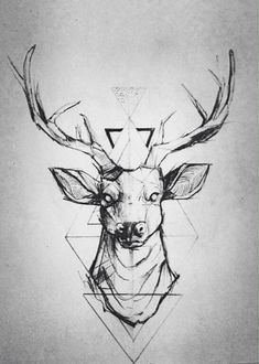 geometric deer tattoo design #geometricdeertattoo