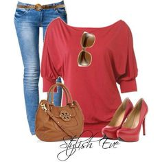 Red and denim women's outfit