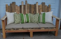 Outdoor sofa made from reused wood pallets.