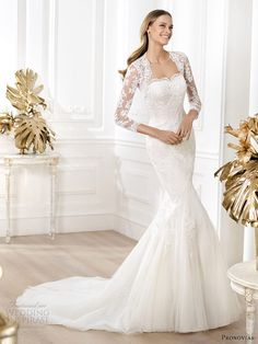 New, sample and used Pronovias wedding dresses for sale at amazing prices. Browse our Pronovias wedding gowns and find your dream dress for less! Pronovias Wedding Dress, Wedding Dress Necklines, Wedding Dress Train, Wedding Dresses 2014, Lace Mermaid Wedding Dress, Prom Party Dresses, Wedding Dress Styles, Bridal Dresses, Bridesmaid Dresses