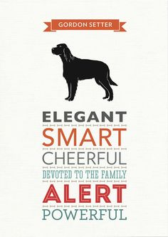 Gordon Setter Dog Breed Traits Print by WellBredDesign on Etsy