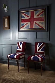 Union Jack chairs @Kelly Teske Goldsworthy Dunnigan - these would look good in your future house :)