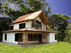 Resultado de imagen para modelos de casas prefabricadas Village House Design, Village Houses, Tiny House Design, New House Plans, Dream House Plans, Mexican Style Homes, Bamboo Construction, Farm Stay, Simple House