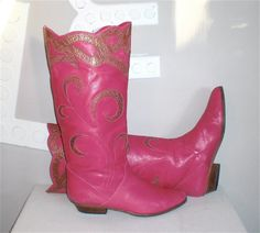 Vintage COWBOY BOOTS Pink Leather Flat Western 8.5 by StatedStyle, $195.00