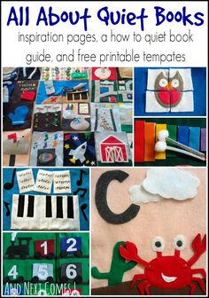 Quiet books - inspiration pages, a how to quiet book guide, and some free printable templates from And Next Comes L