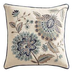 Beaded True Blue Jacobean Floral Pillow - possible office chair pillow Floral Pillows, Blue Pillows, Accent Pillows, Decorative Throw Pillows, Decorative Accents, Embroidered Pillows, Embroidery Patterns, Hand Embroidery, Jacobean