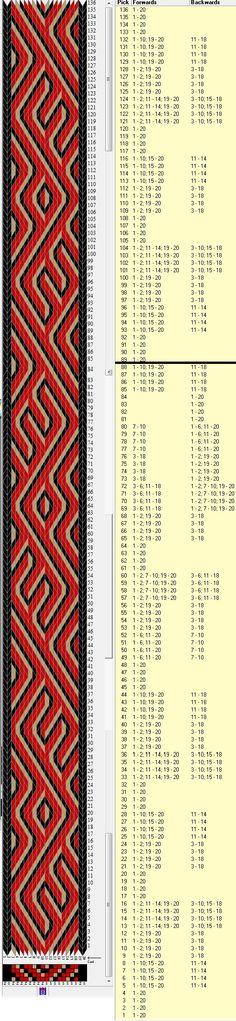 20 tarjetas, 3 colores, repite cada 88 movimientos // sed_437 diseñado en GTT༺❁