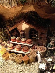 Fontanini Nativity, Diy Nativity, Christmas Nativity Scene, Christmas Villages, Miniature Dollhouse Furniture, Dollhouse Miniatures, Christmas Program, Modelos 3d, Ceramic Houses