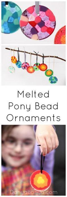 How to make melted pony bead ornaments - decorations or as a nice DIY gift ~ Danya Banya
