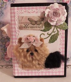 craftEcafe Yorkie dog OOAK photo Album Pink Plaid Christmas Gift pet lovers