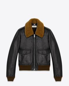 saintlaurent, Classic Flight Jacket in Black Leather and Brown Shearling