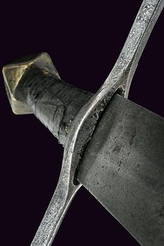 Description: A knightly sword, dating: Century Provenance: France Straight, double-edged blade of lozenge section, on both sides of the first part a brass mark depicting a Swords And Daggers, Knives And Swords, Dark Angel Names, Mtg Altered Art, Medieval Weapons, Arm Armor, Throne Of Glass, Cold Steel, Dark Ages