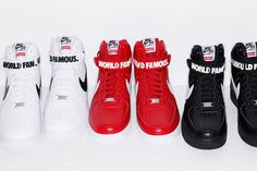 """After numerous unofficial leaks and previews, Supreme just announced that it will be releasing its new version of the Supreme x Nike Air Force 1 High. Mix in with its """"World Famous"""" and """"94"""" along the ankle strap, the collaborative collection comes in either White, Black or Red. The kicks will be available at the brand's Los Angeles and London spots, as well as the Supreme online store this Thursday, October 23. Today we can give you a full look at the upcoming Supreme x Nike Air Force 1 ..."""