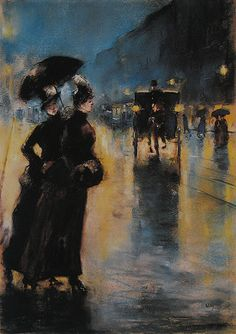 Nachtbeleuchtung, 1889 // Lesser Ury (German, 1861-1931). Don't know why I love this, but I do. Just something about it.