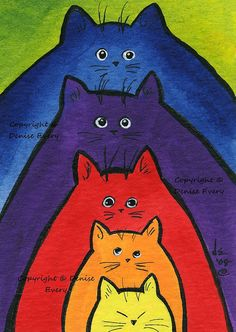 Cat Art Print Colorful Stacking Kitties Abstract Cat Art Whimsical Cat ACEO Art Cat Lover Cat Gift ACEO Print Denise Every DeniseEvery on etsy – colorful stacking kitties Cat Art Print, Cat Quilt, Art Mural, Cat Drawing, Whimsical Art, Art Plastique, Watercolor Art, Wall Art Prints, Cat Lovers