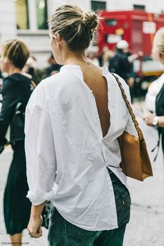 crinkled shirt + top knot