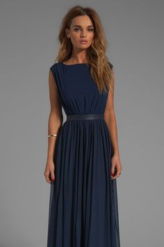 Alice + Olivia Triss Sleeveless Maxi Dress with Leather Trim in Navy | REVOLVE