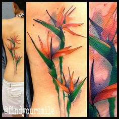 watercolor tattoo - (Russell van Schaick) My mom's favourite flower, perhaps it's time to rethink the tribute... (flowers?)