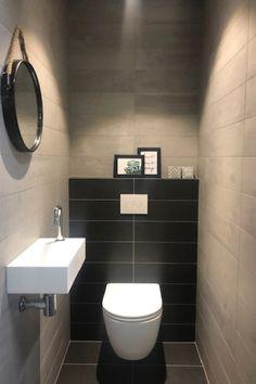 Toilet – black – gray – round mirror – soft close – sink – small toilet Source by tegelslverwarminglsanitair Bathroom Design Luxury, Bathroom Design Small, Modern Bathroom, Small Toilet Room, New Toilet, Next Bathroom, Small Bathroom With Shower, Wc Design, Toilet Design
