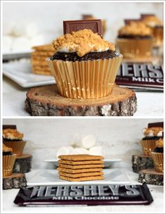 S'mores Cupcakes! @Mary Kate Ramsey Glime Looks pretty darn festive to me! Espec in a mini?