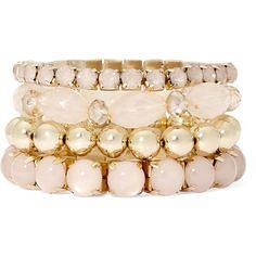 Decree 4-pc. Stretch Bracelet Set ($14) ❤ liked on Polyvore featuring jewelry, bracelets, decree jewelry, pink bangles, stretch jewelry, gold tone jewelry and pink jewelry