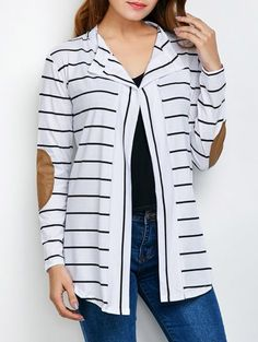 Cotton Wool White Casual Fall Spring Striped Trendy Womens Cardigan,Cheap Trendy on Sale!