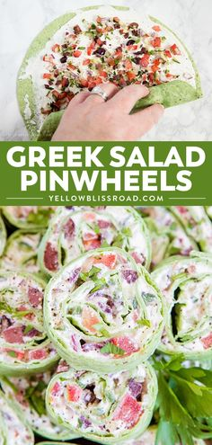 These Creamy Greek Salad Pinwheels are a delicious appetizer made with tangy Feta cheese, Kalamata olives, crunchy cucumbers, juicy tomatoes and oregano. #greeksalad #appetizer Pinwheel Appetizers, Pinwheel Recipes, Yummy Appetizers, Appetizers For Party, Appetizer Recipes, Salad Recipes, Healthy Pinwheels, Pinwheels Food, Appetizer Ideas