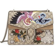 Gucci Dionysus Medium Bird Embroidered Shoulder Bag found on Polyvore featuring bags, handbags, shoulder bags, malas, multi, gucci shoulder bag, chain strap purse, canvas purse, shoulder handbags and canvas handbags