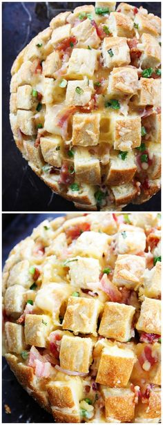 Cheesy Bacon Pull-Apart Bread Recipe on twopeasandtheirpo... This easy, cheesy bread is perfect for parties, game day, or any day!