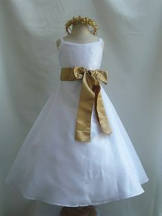 Classic Dress White at My Kid Studio  The elegant bodice is made of high quality poly taffeta.  The spaghetti shoulder strap is designed to make this dress more georgeous.   The waistline is decorated