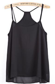 Black+Spaghetti+Strap+Double+Layer+Chiffon+Vest+US$18.94