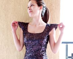 Purple sequin dress with open back and cap by PolinaIvanova $210.00
