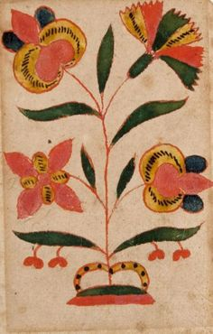 American, Pennsylvania German Flowers  19th century Opaque, water-based paint and watercolor with pen and red paint and brown ink on laid paper 4 1/4 x 2 3/4 in.