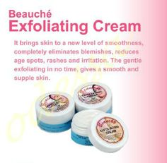 Beauche Exfoliating Cream 10 Grams by Beauche. $6.10. Beauche Exfoliating Cream 10 grams; eliminates blemishes, redues age spots, rashes and peels off old skin to make your face radiant.  Methyl Paraben, citric acid, propylene glycol, sallcylic acid.