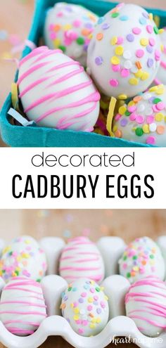 Decorated Cadbury Eggs - a fun and simple Easter treat that the kids can help with! Earlier this week I shared a delicious cupcake recipe filled with Cadbury eggs and today I'm sharing another easy Taco Appetizers, Holiday Appetizers, Easter Recipes, Holiday Recipes, Cupcake Recipes, Dessert Recipes, Baking Recipes, Cadbury Eggs, Egg And I