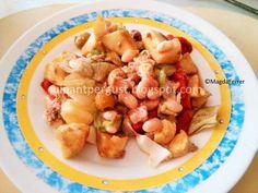 Ensalada de alubias, manzana y atún.
