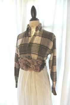 Autumn plaid dress country chic clothing farm by TrueRebelClothing, $76.00