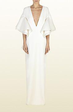 v yaka beyaz elbise, kollu elbise, uzun elbise, uzun abiye, beyaz abiye, v yaka abiye, v yaka elbise, gece elbisesi
