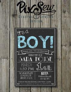 Chalkboard Baby Boy shower invitation card 5X7, 4X6, Digital file printable personalized by PixSew on Etsy https://www.etsy.com/listing/178565804/chalkboard-baby-boy-shower-invitation