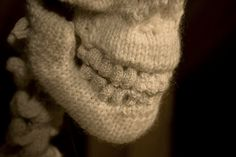 "SKULL This jaw image) is a detail of the complete skeleton knitted by Los Angeles multi-media artist Ben Cuevas for his ""Transcending the Material"" installation. Position Du Lotus, Hand Knitting, Knitting Patterns, Knitting Ideas, Skeleton Art, Yarn Bombing, Skull And Bones, Art Festival, Fiber Art"